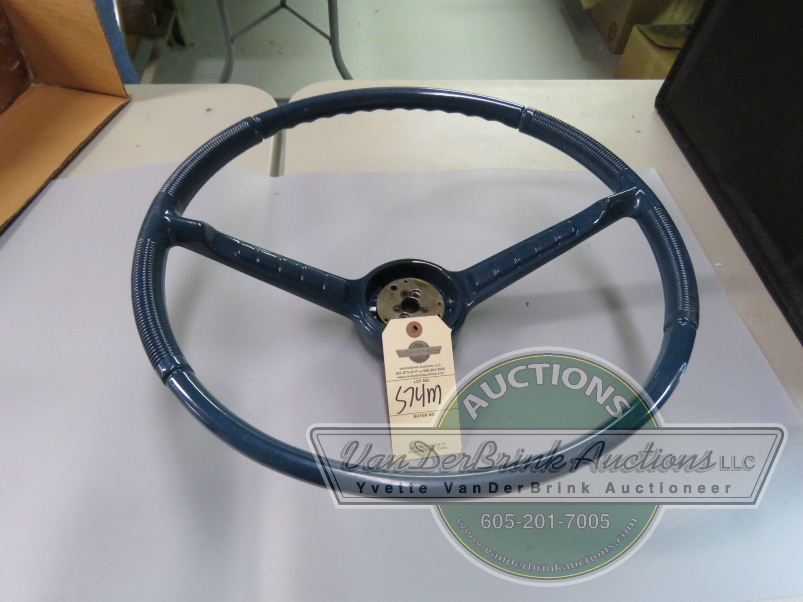 1961-66 NOS STUDEBAKER STEERING WHEEL BLUE - Image 1