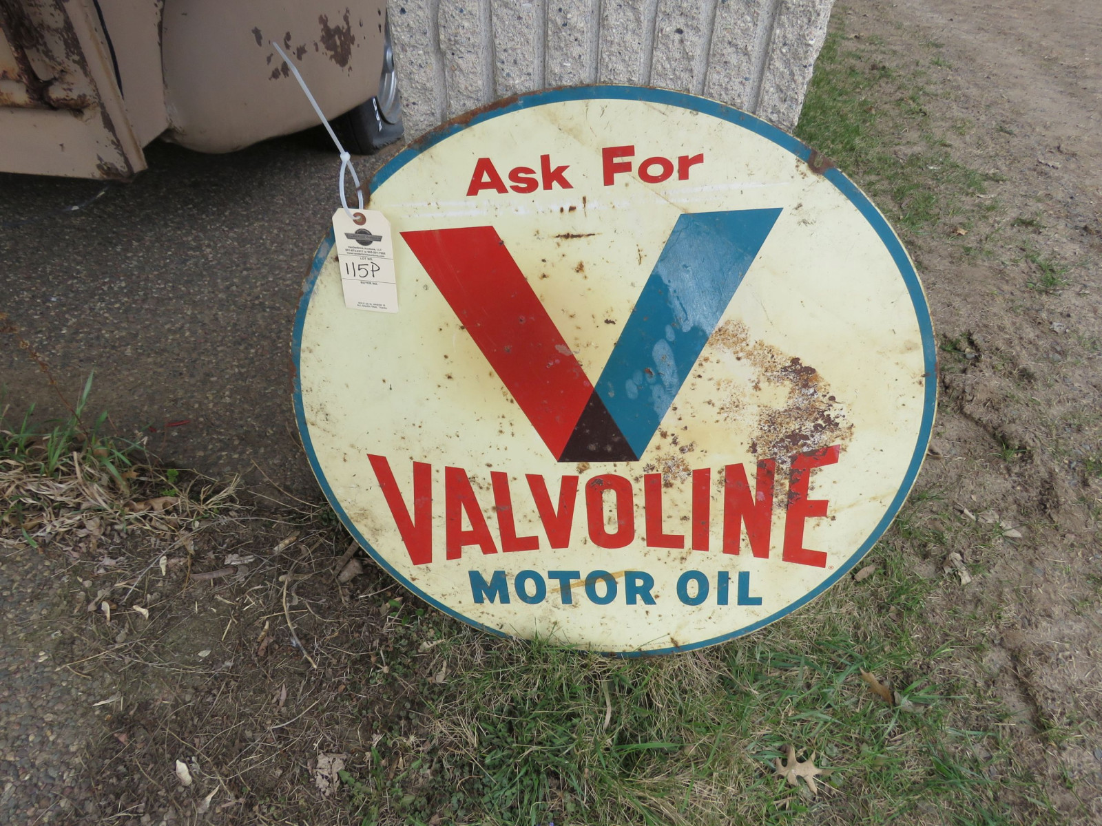 Valvoline 29.5 inch Double sided Painted Tin Sign - Image 1