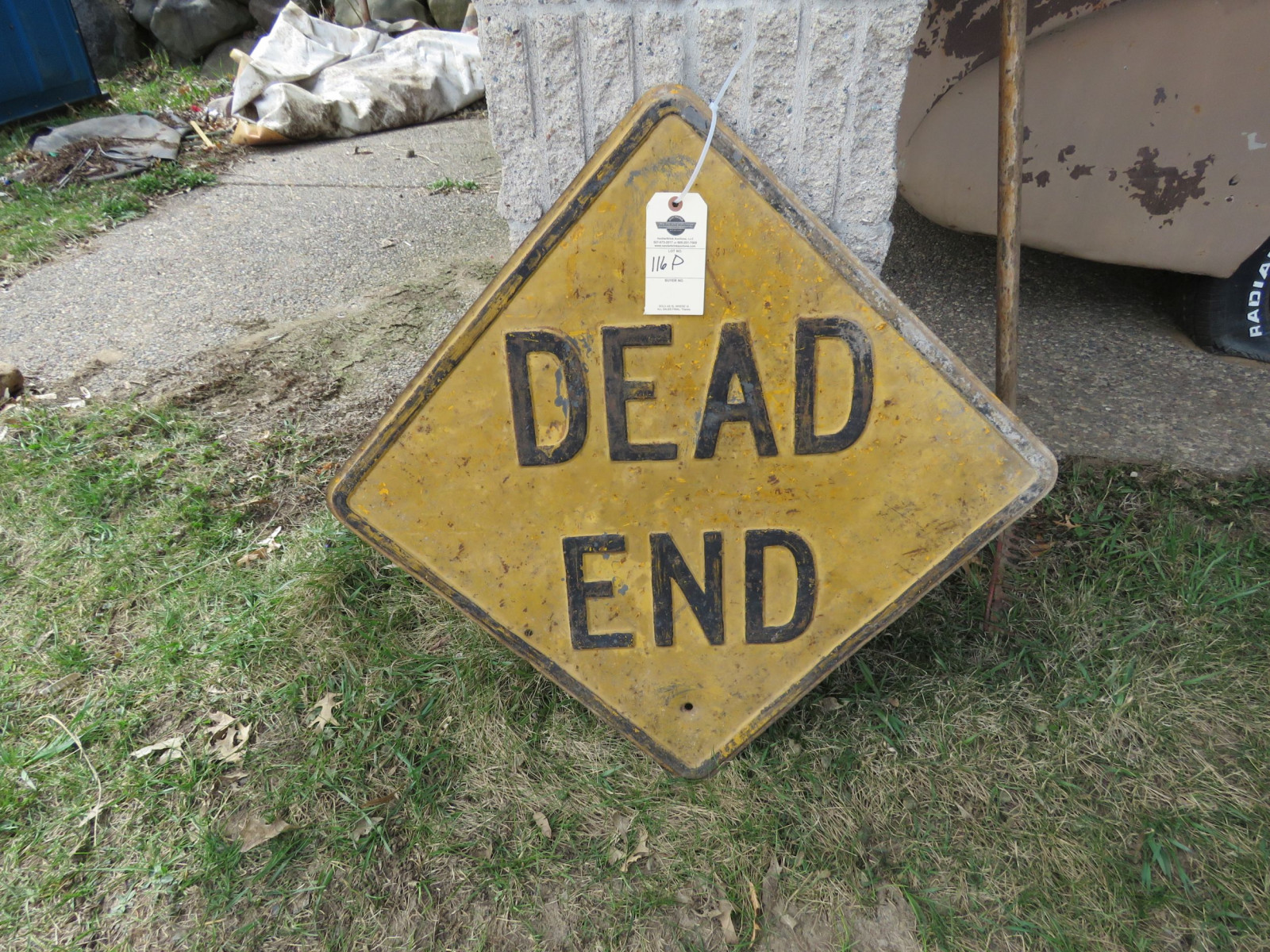 Large Single signed Painted Tin Dead End sign - Image 1