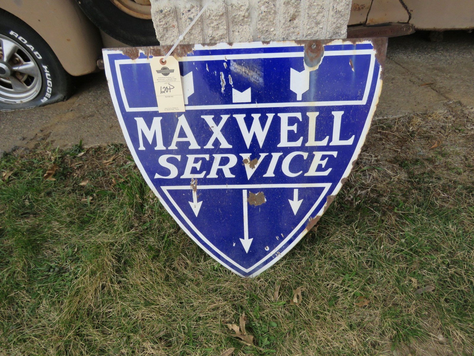 Maxwell Double sided Porcelain Sign 22x24 inches - Image 1