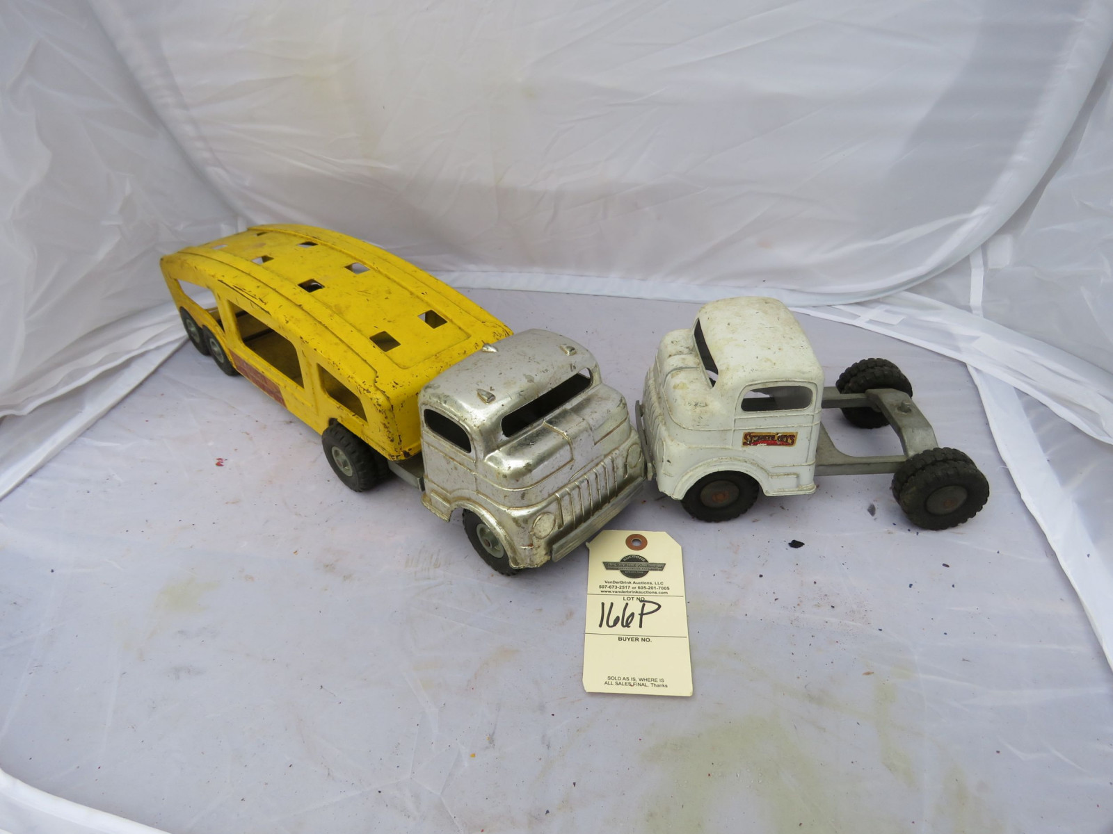 Vintage Tin Car Hauler and Truck - Image 1