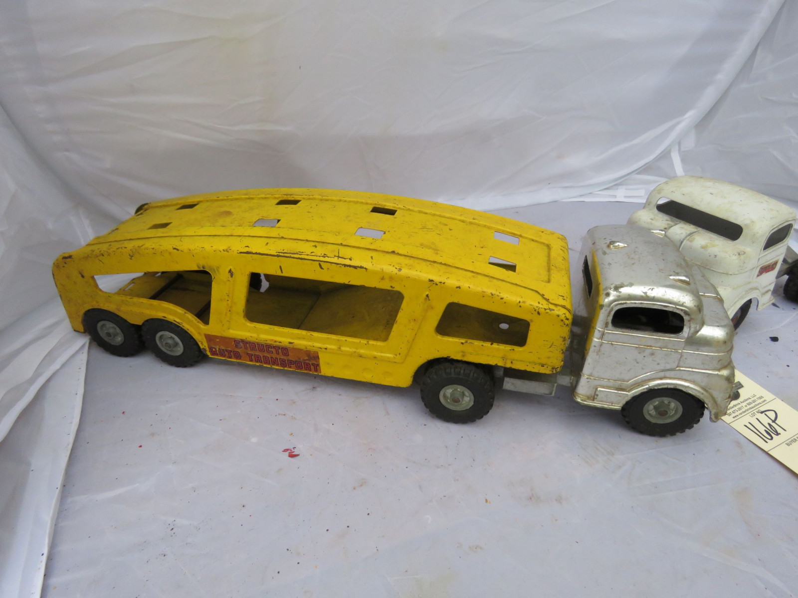Vintage Tin Car Hauler and Truck - Image 2
