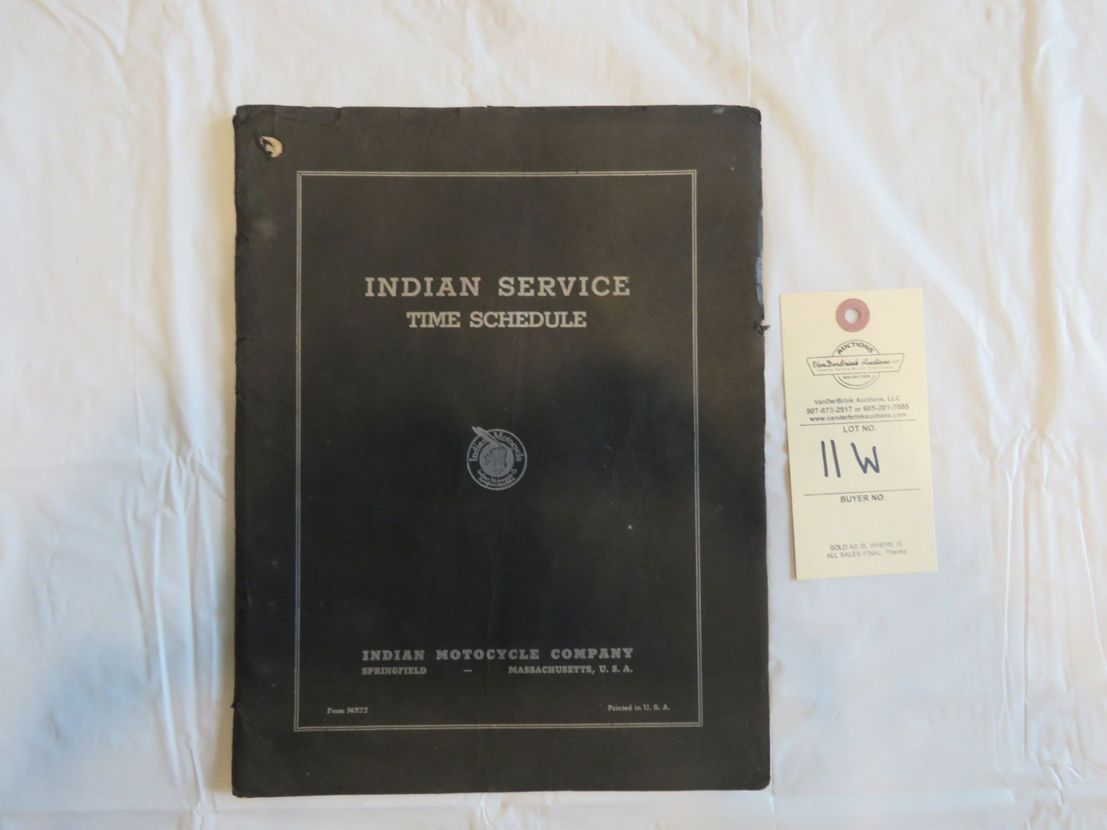 Indian Motorcycles Service Time Schedule Folder - Image 1