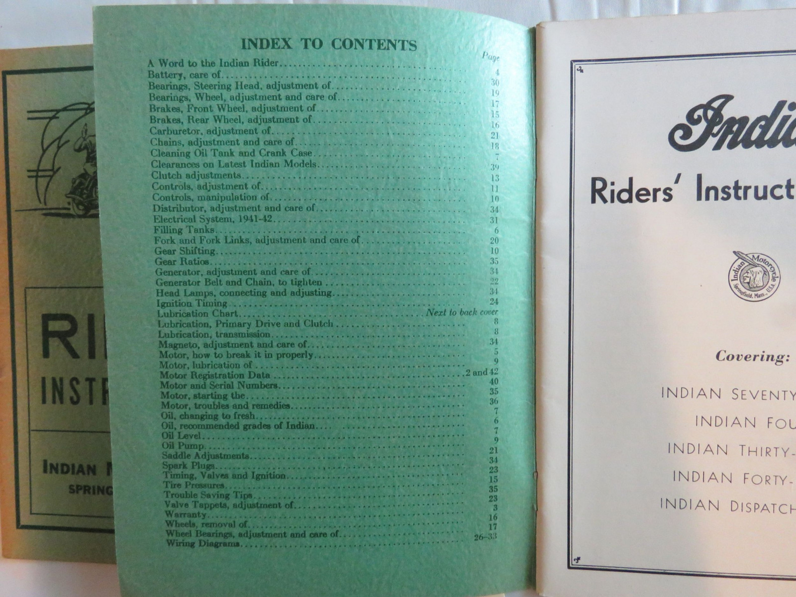Lot of 2 Indian Motorcycles Riders' Instruction Books - Image 2