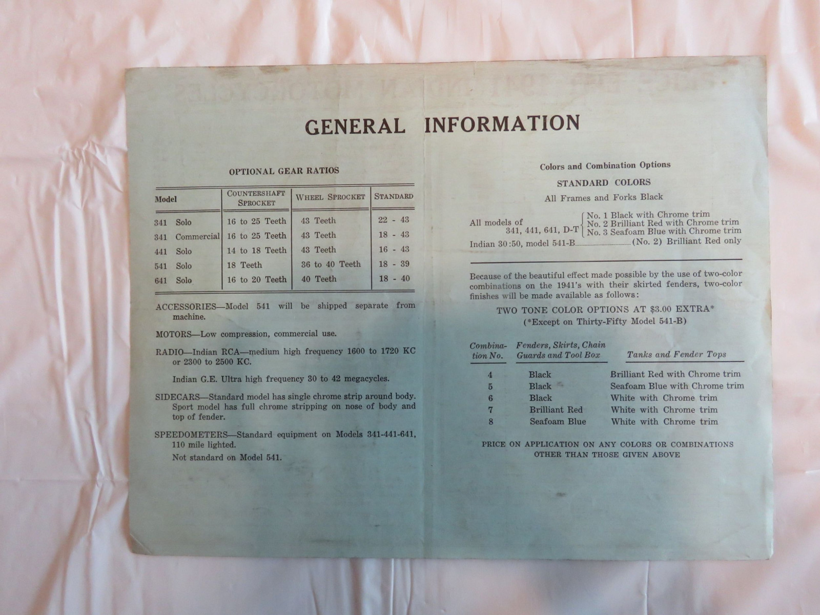 1941Indian Motorcycles Price lists - Image 2